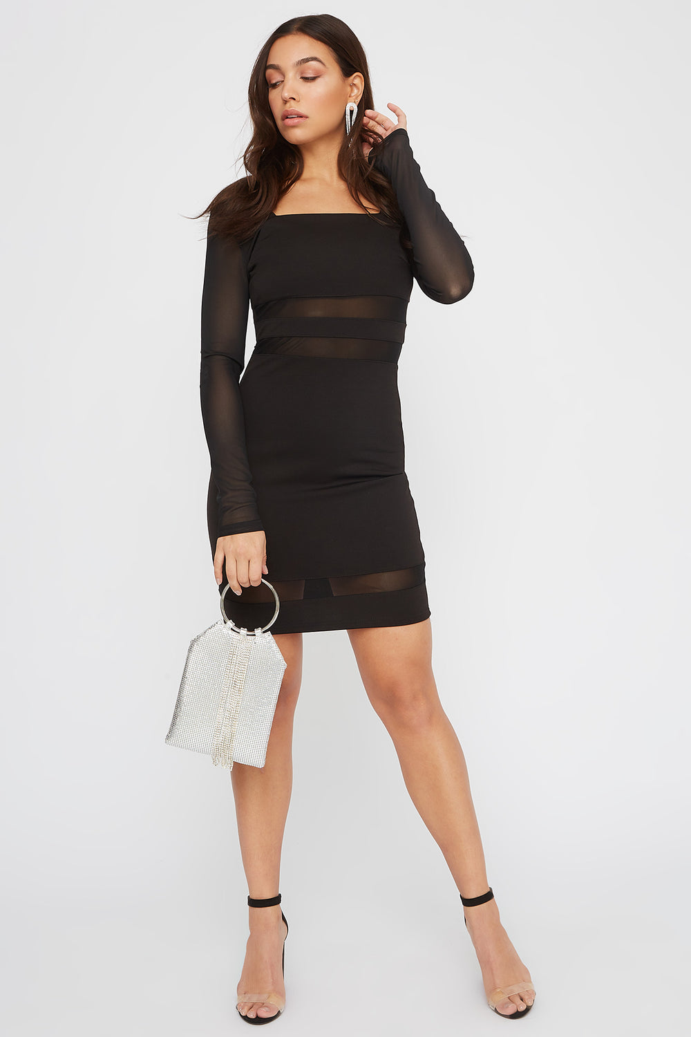 Square Neck Mesh Panel Mini Dress Black