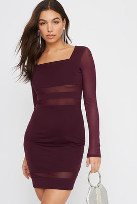 Square Neck Mesh Panel Mini Dress