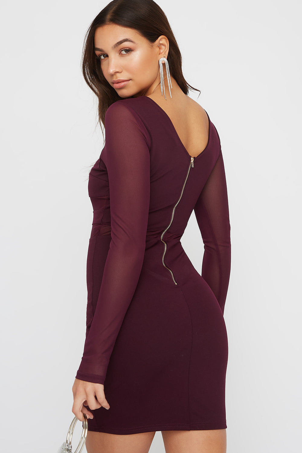 Square Neck Mesh Panel Mini Dress Purple