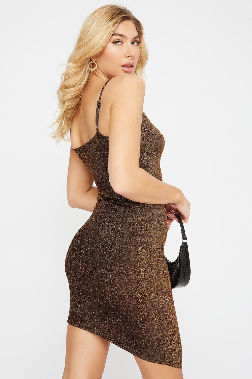 Sparkle Asymmetrical Mini Dress Gold