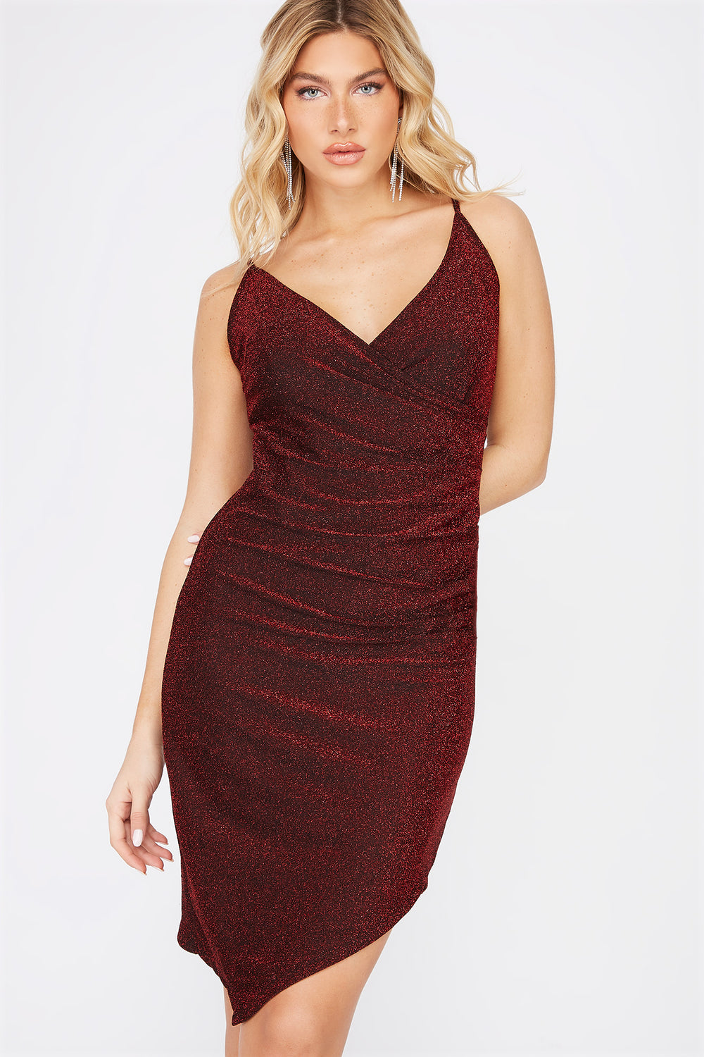 Sparkle Asymmetrical Mini Dress Red