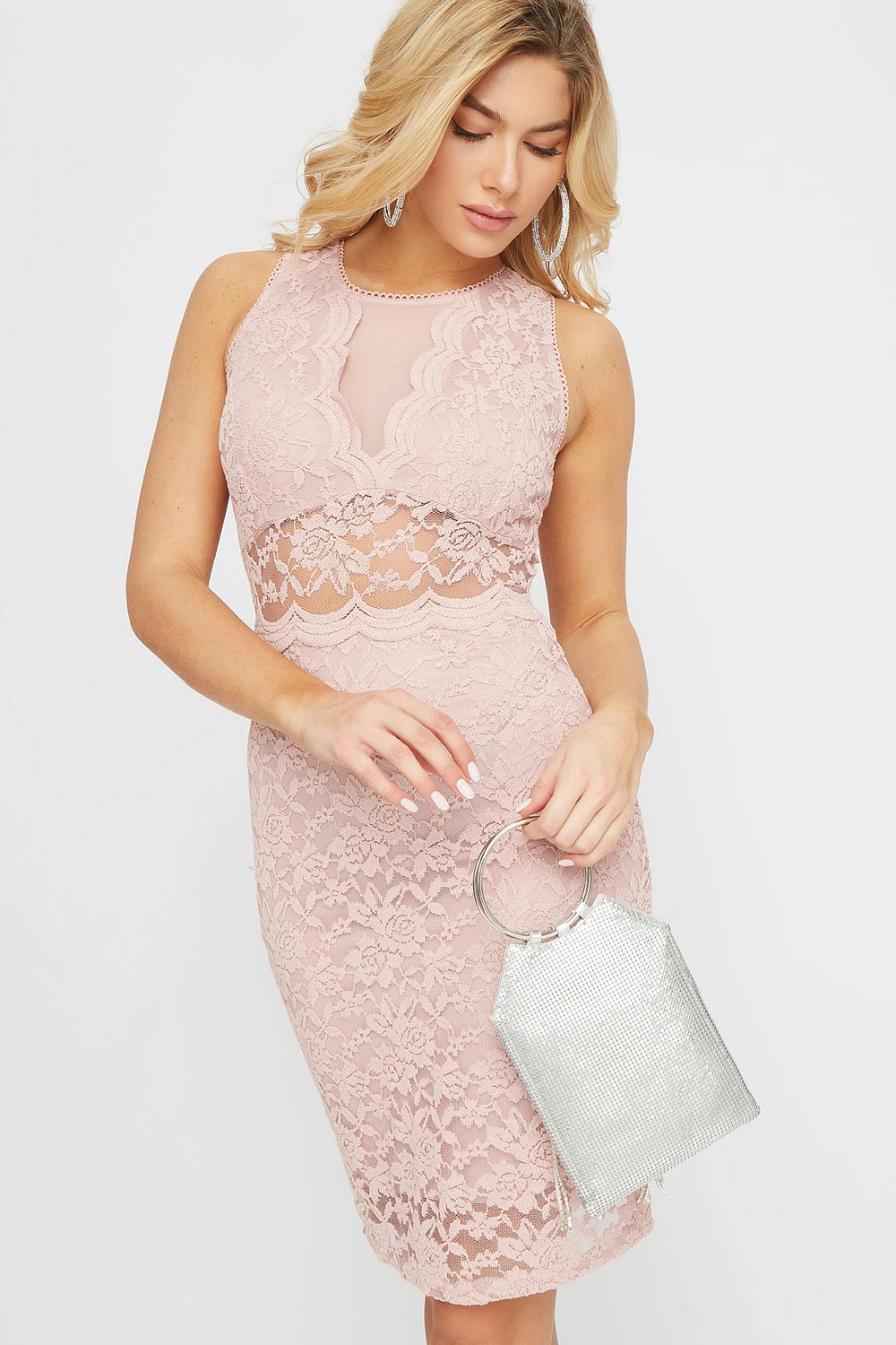 Lace Bodycon Sleeveless Mini Dress Rose