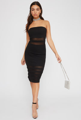Strapless Mesh Cut Out Midi Dress