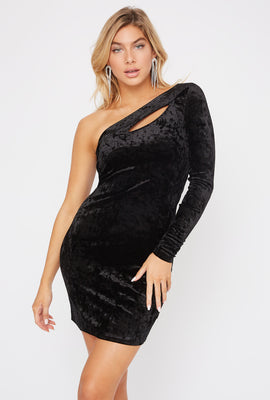 Velvet One Shoulder Keyhole Mini Dress