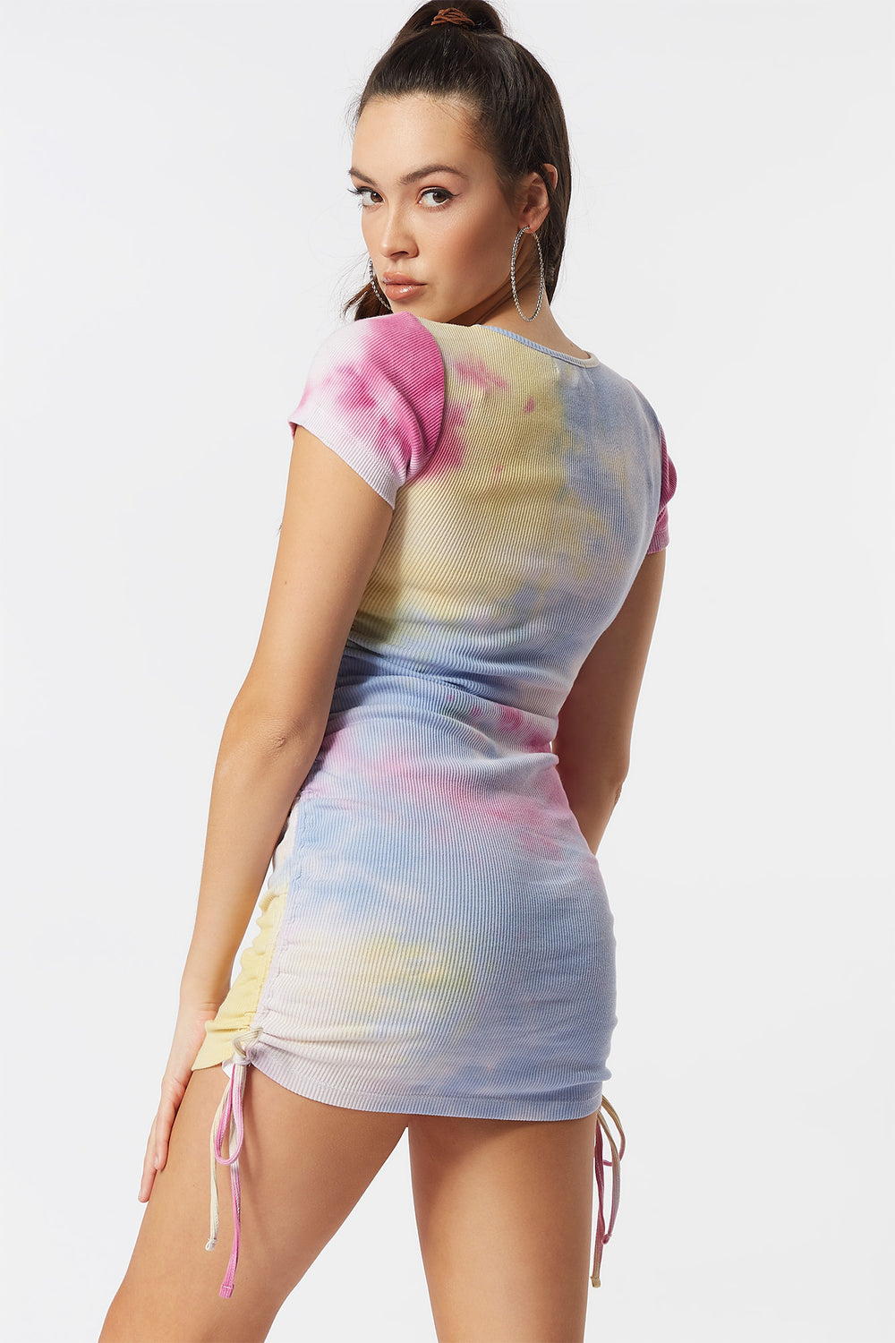 Ribbed Yellow Tie-Dye Ruched Side Tie Short Sleeve Mini Dress Multi