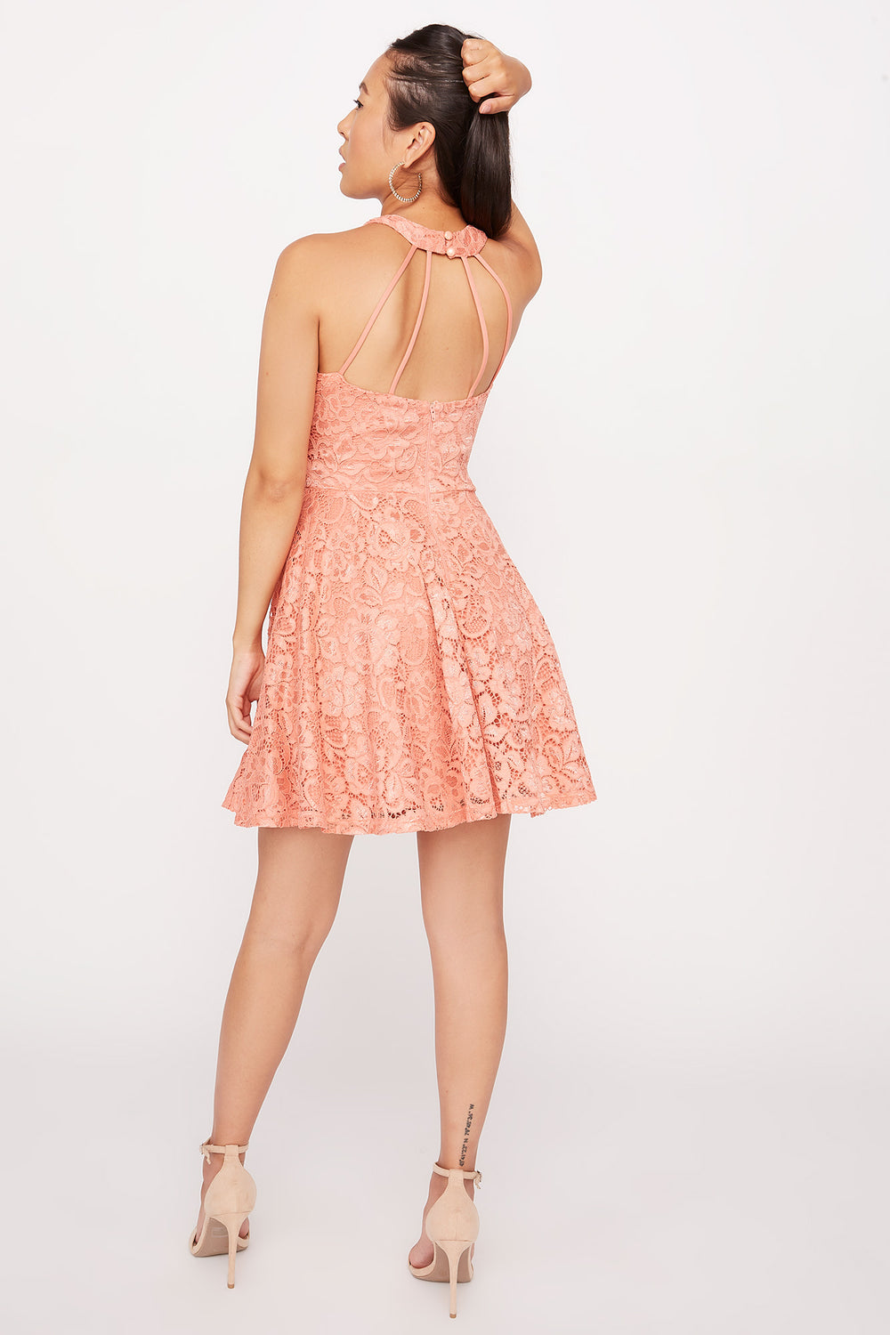 Lace High Neck Skater Dress Coral