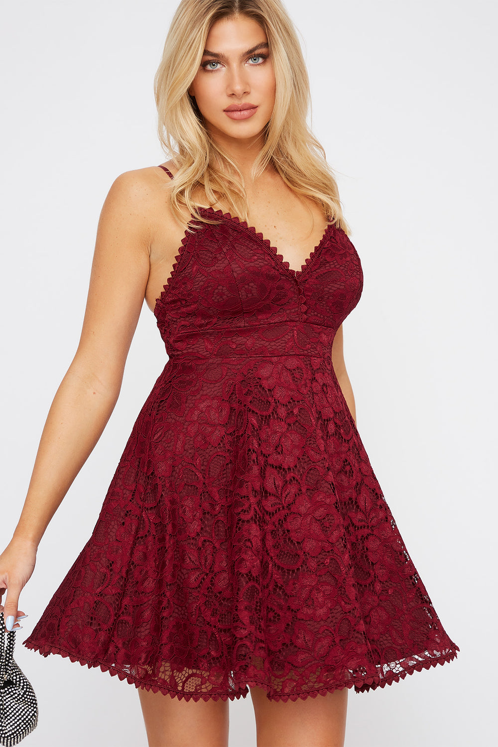 Lace Scallop Skater Dress Burgundy