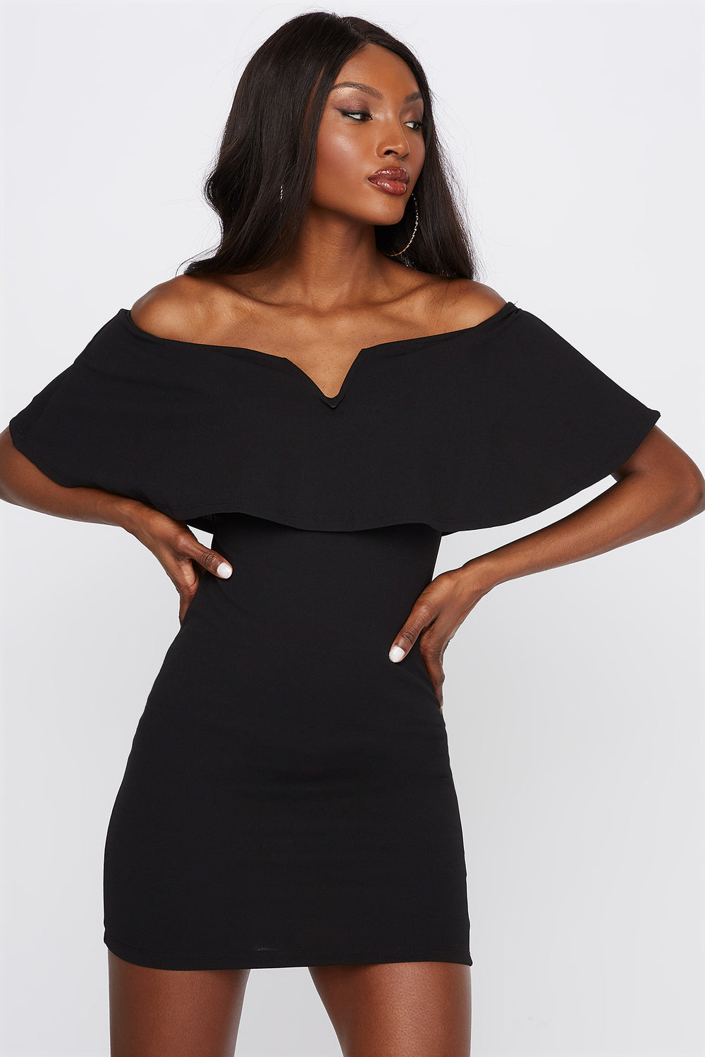Flounce Notch Neck Bodycon Mini Dress Black