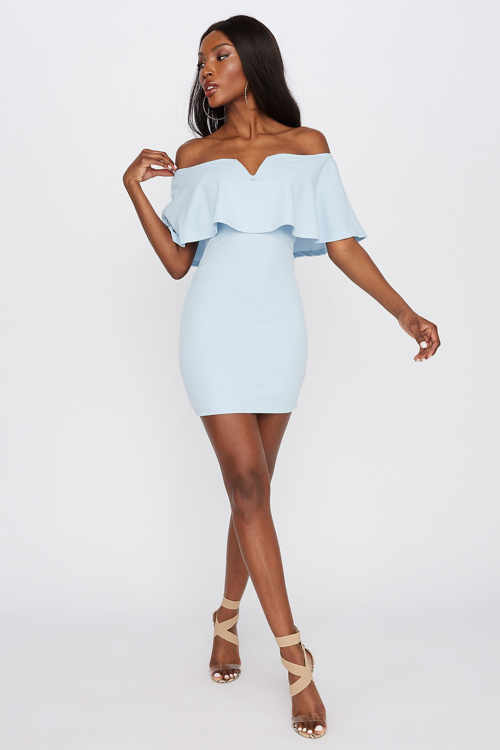 Flounce Notch Neck Bodycon Mini Dress Baby Blue