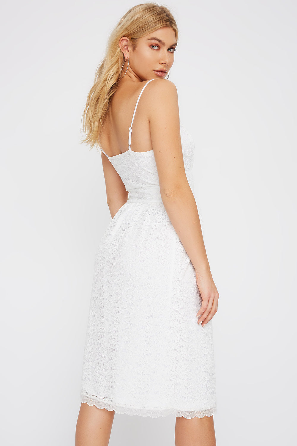 Lace V-Neck Midi Dress Cream