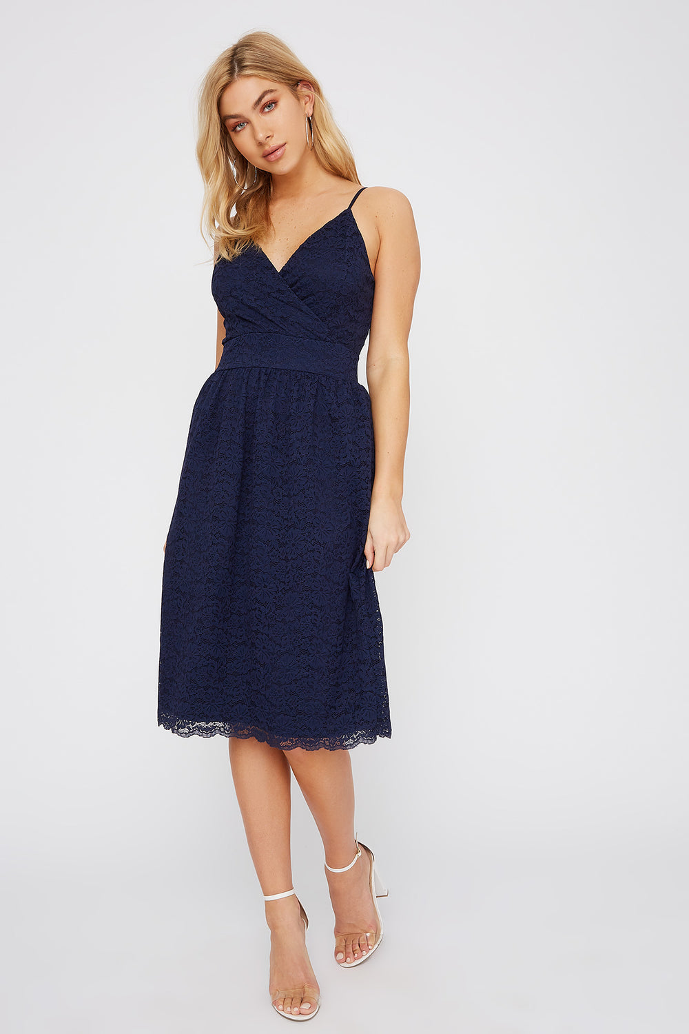 Lace V-Neck Midi Dress Navy