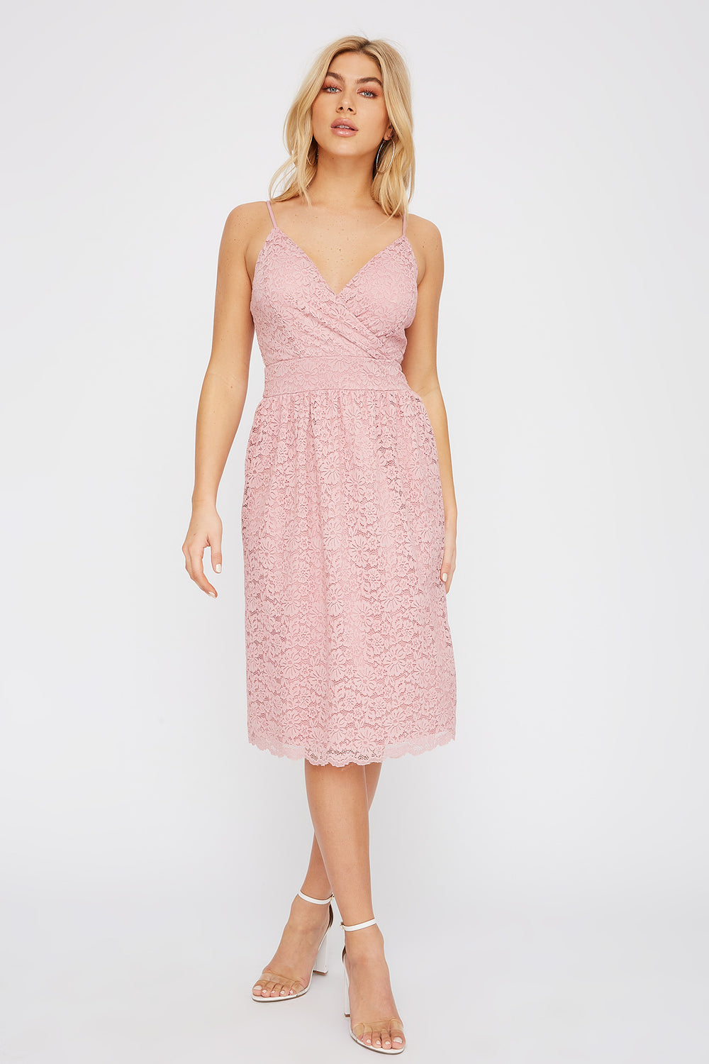 Lace V-Neck Midi Dress Dusty Rose