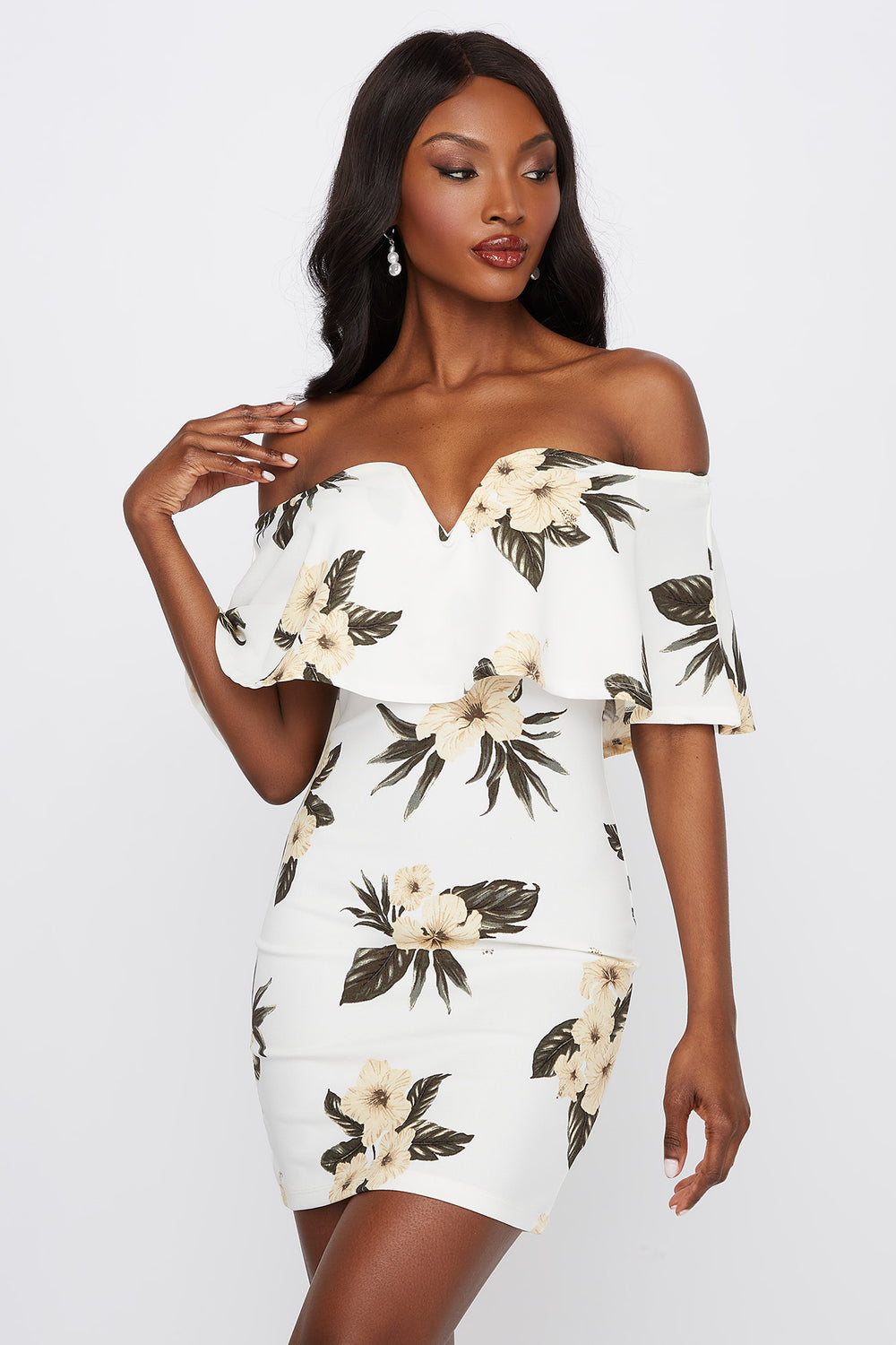 Printed Flounce Notch Neck Bodycon Mini Dress Off White