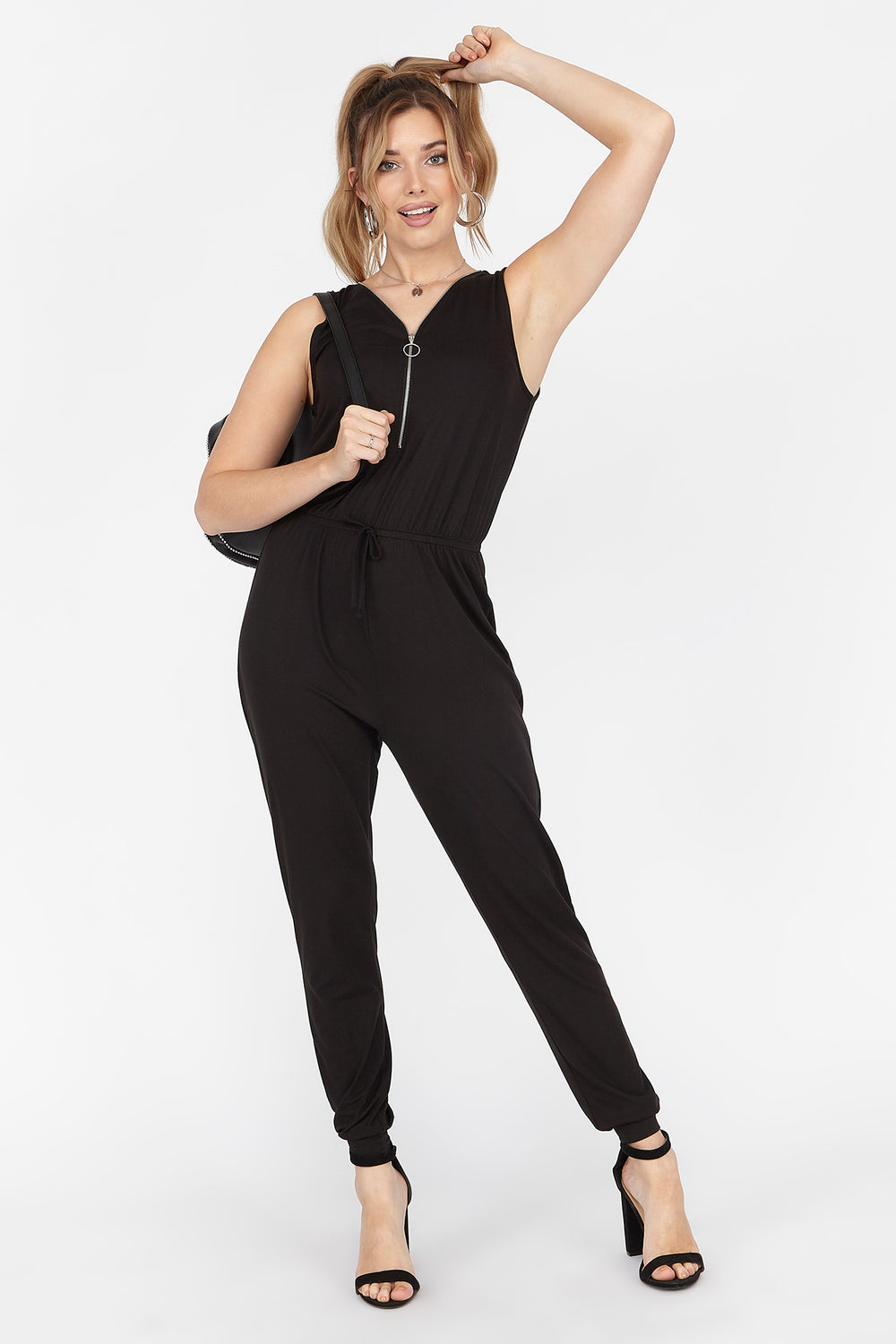 Soft Zip Front Sleeveless Jumpsuit Black