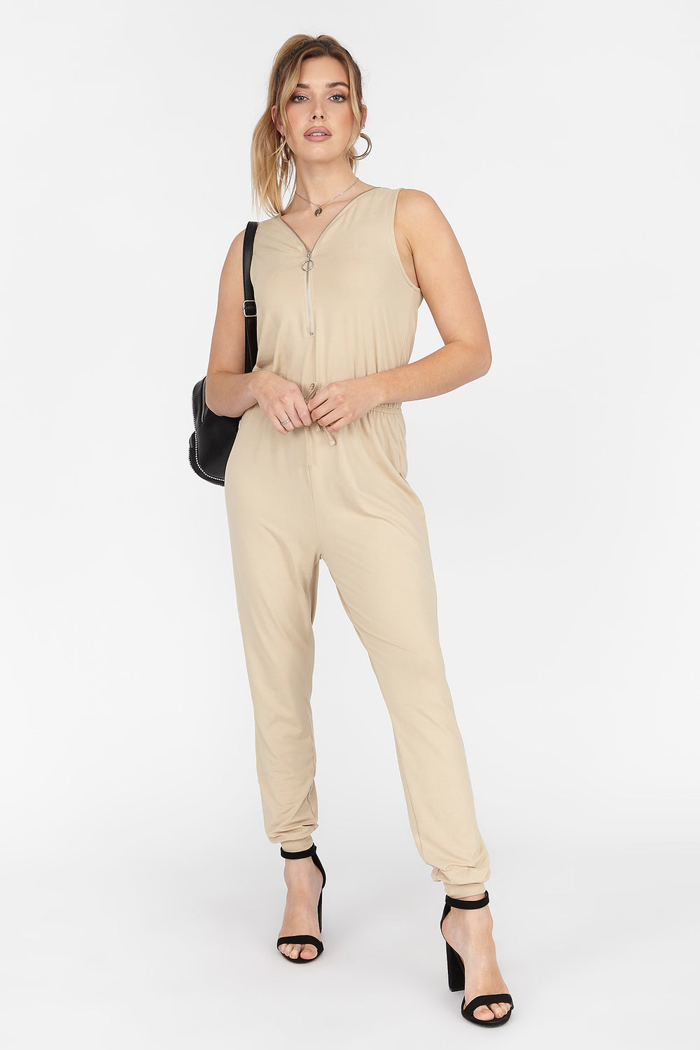 Soft Zip Front Sleeveless Jumpsuit Tan