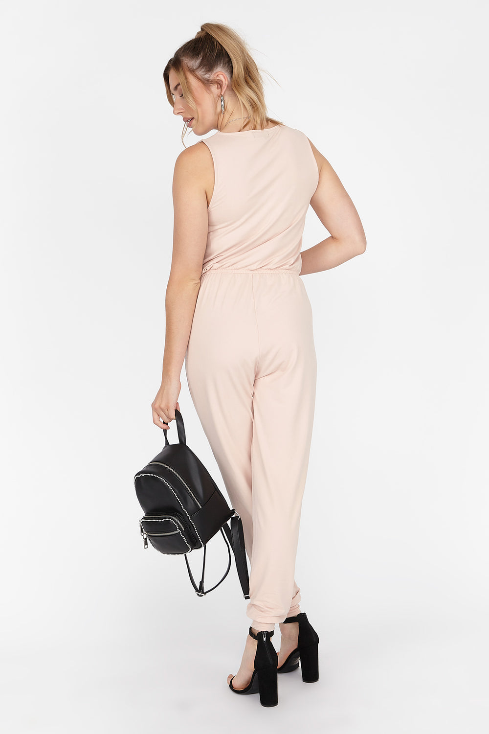 Soft Zip Front Sleeveless Jumpsuit Light Pink