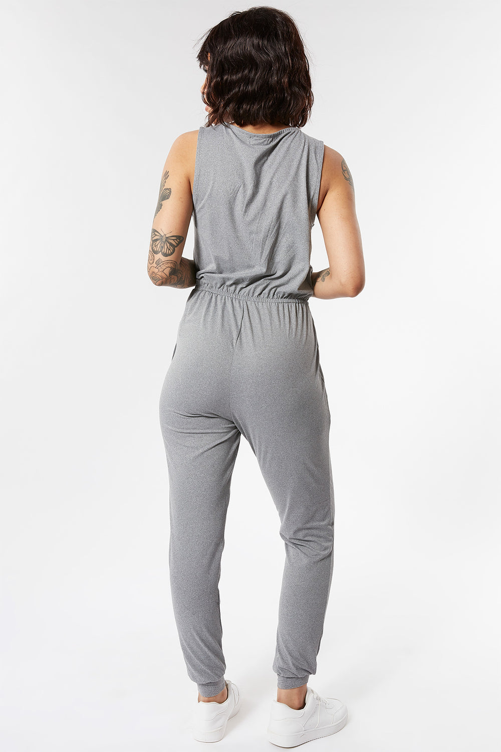 Soft Zip Front Sleeveless Jumpsuit Heather Grey