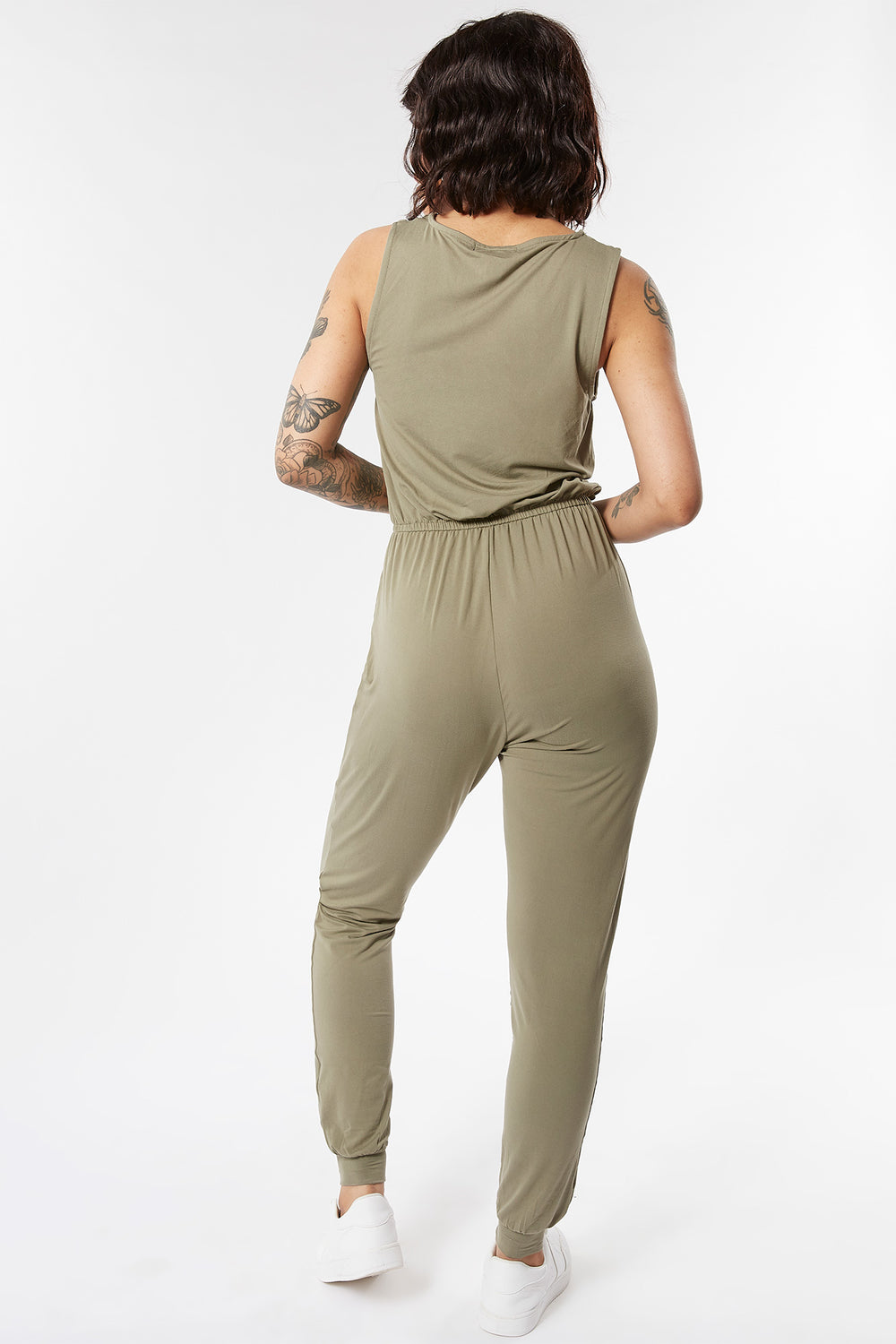 Soft Zip Front Sleeveless Jumpsuit Dark Green