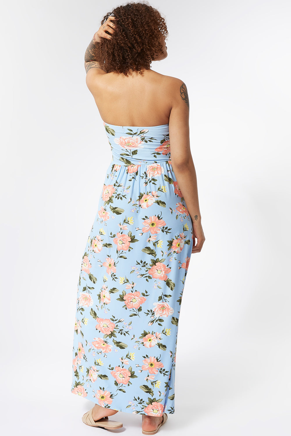 Soft Floral Strapless Ruched Maxi Dress Teal