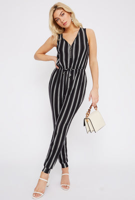 Soft Stripe Half Zip Jumpsuit