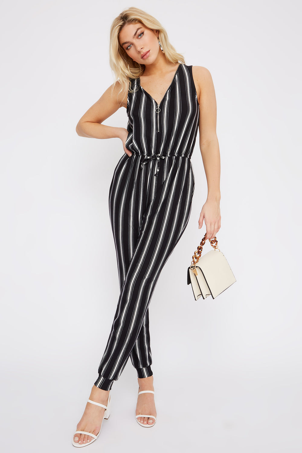 Soft Stripe Half Zip Jumpsuit Black