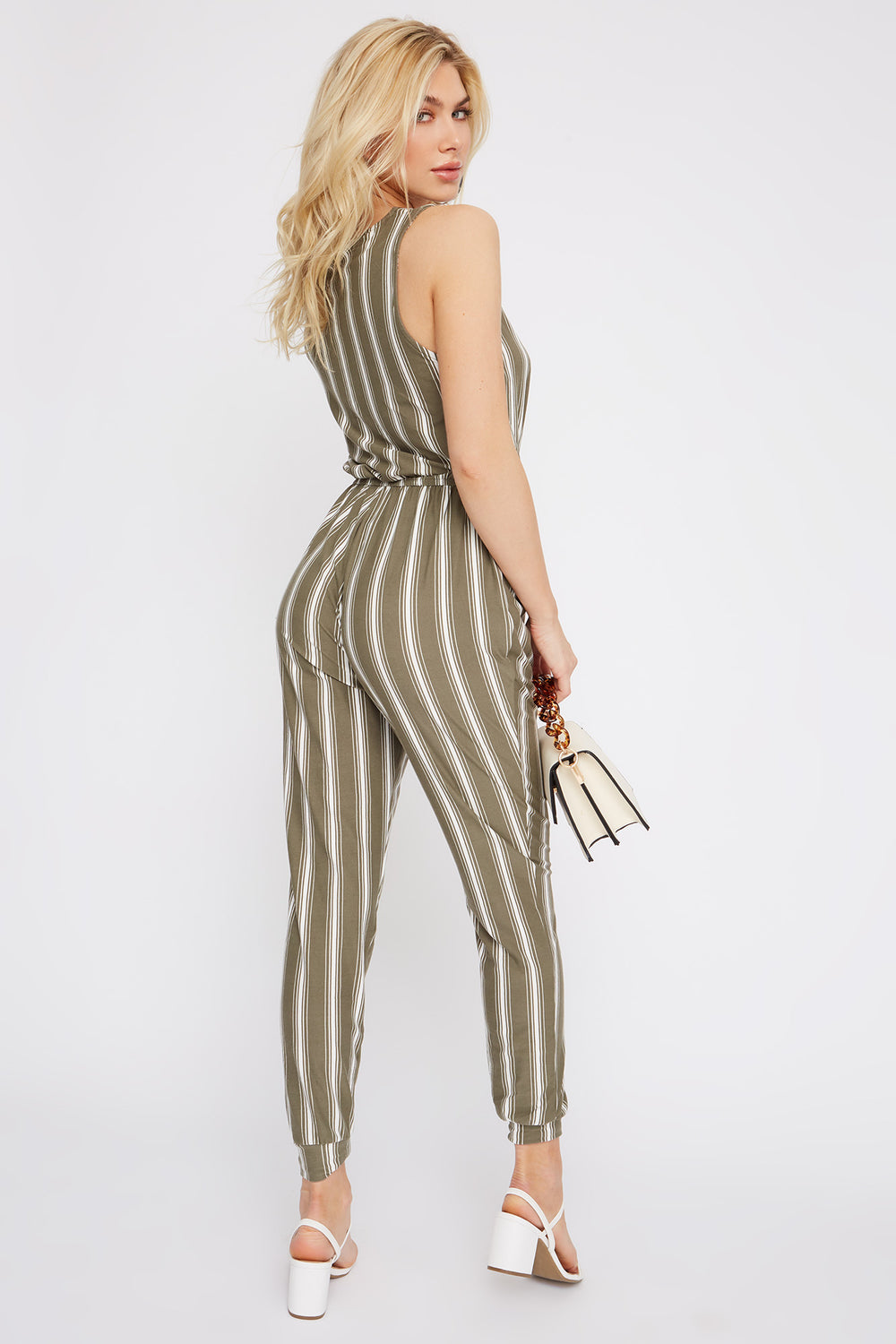 Soft Stripe Half Zip Jumpsuit Dark Green