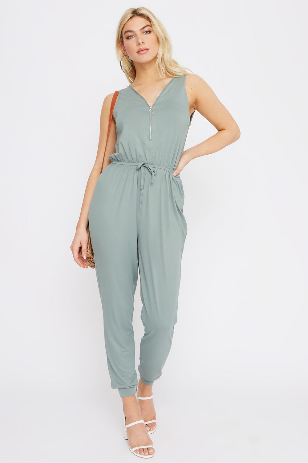 Soft Half Zip Jumpsuit Sage