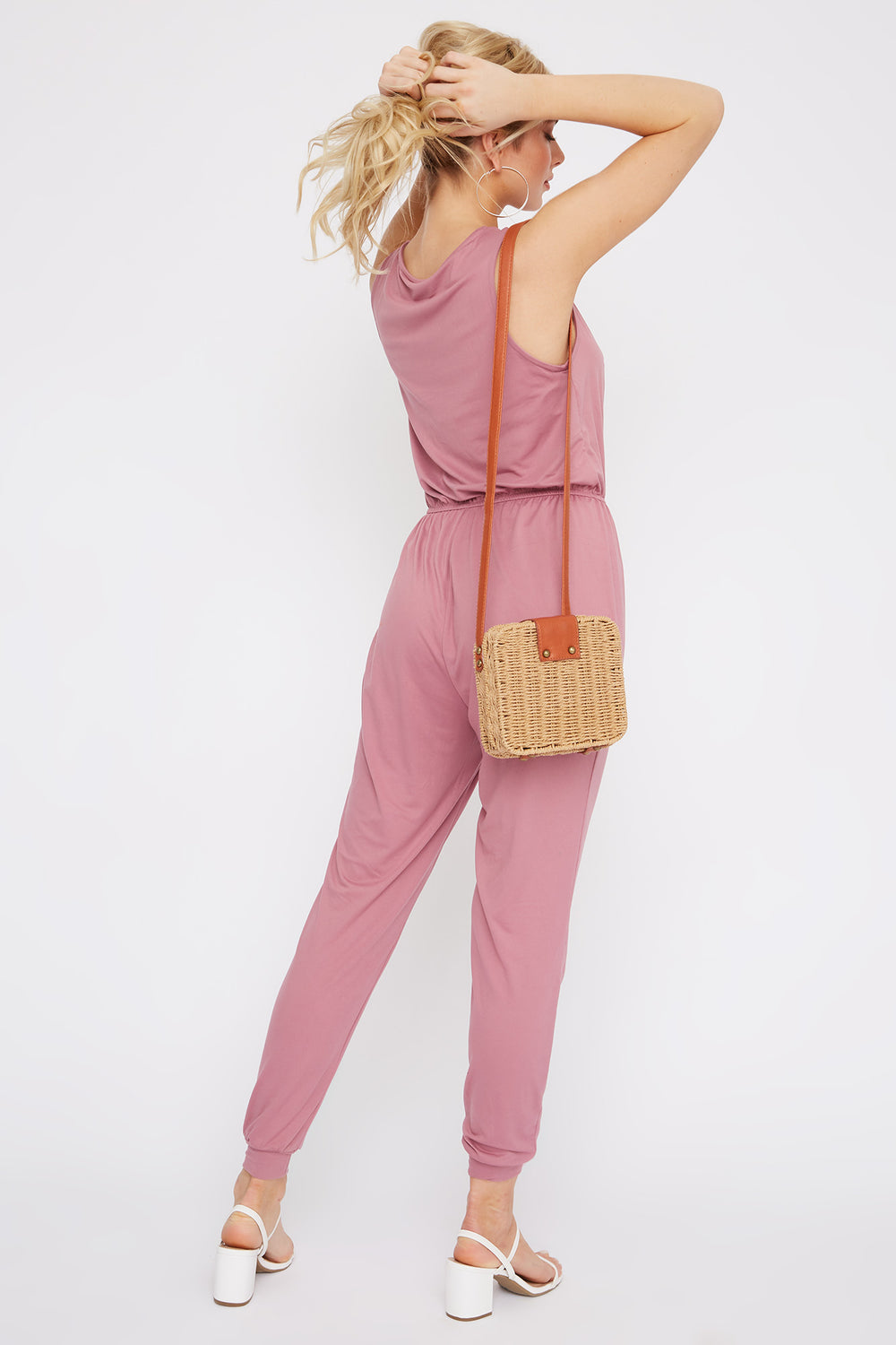 Soft Half Zip Jumpsuit Mauve