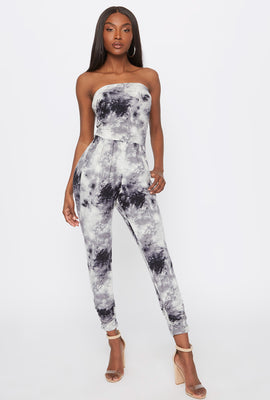 Soft Tie Dye Strapless Ruched Jumpsuit