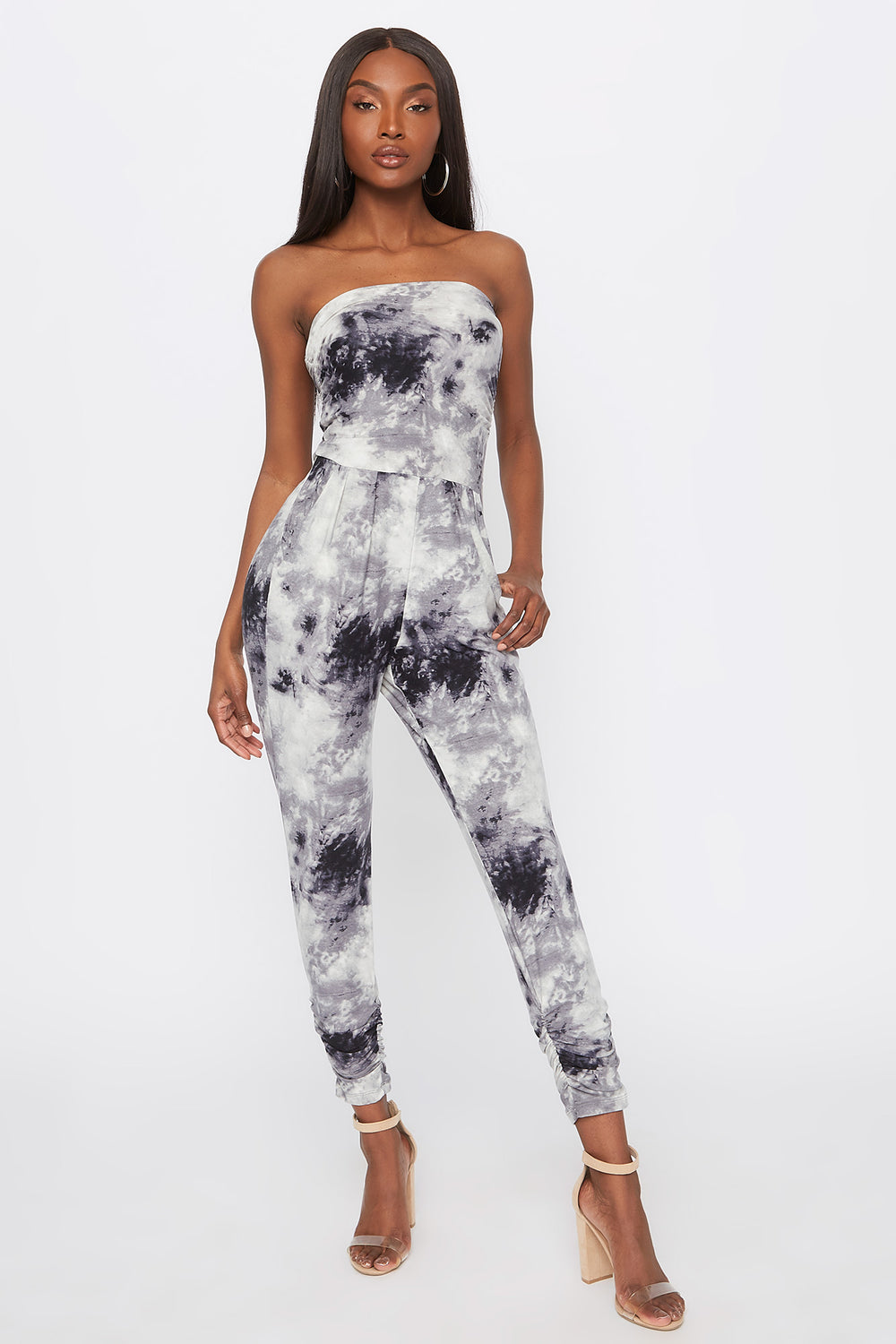 Soft Tie Dye Strapless Ruched Jumpsuit Black