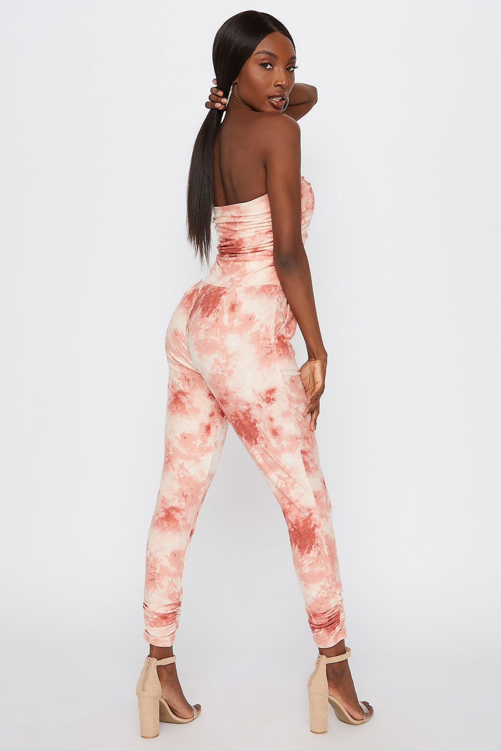 Soft Tie Dye Strapless Ruched Jumpsuit Peach