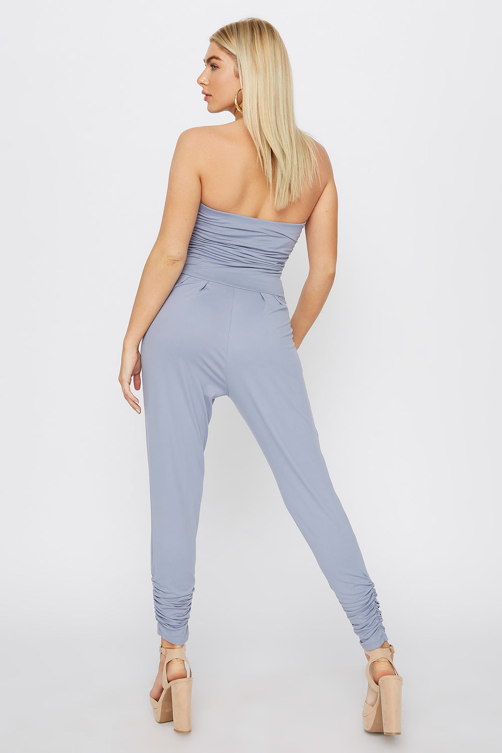 Soft Strapless Ruched Jumpsuit Blue