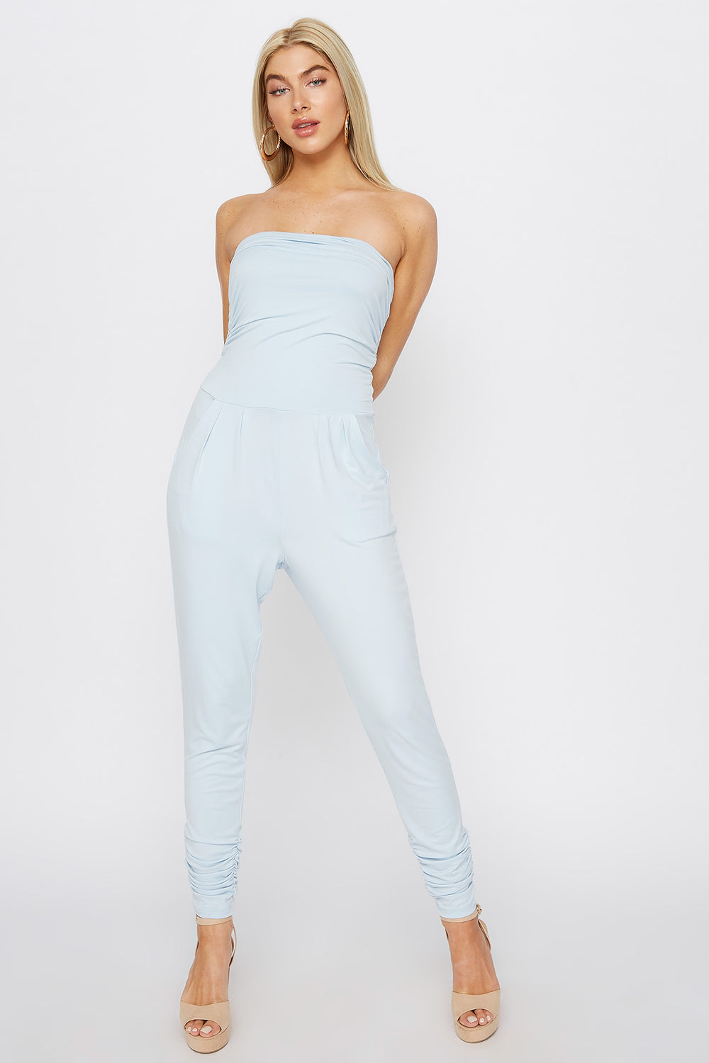Soft Strapless Ruched Jumpsuit Baby Blue