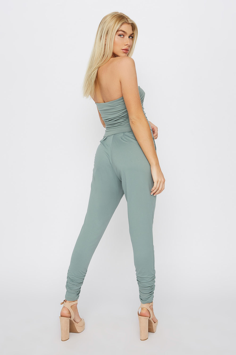 Soft Strapless Ruched Jumpsuit Sage