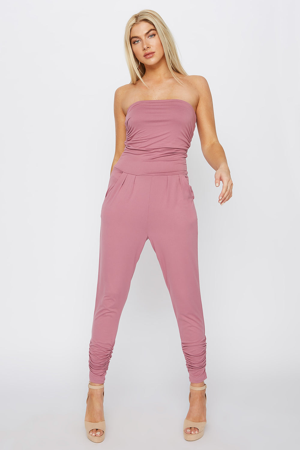 Soft Strapless Ruched Jumpsuit Mauve