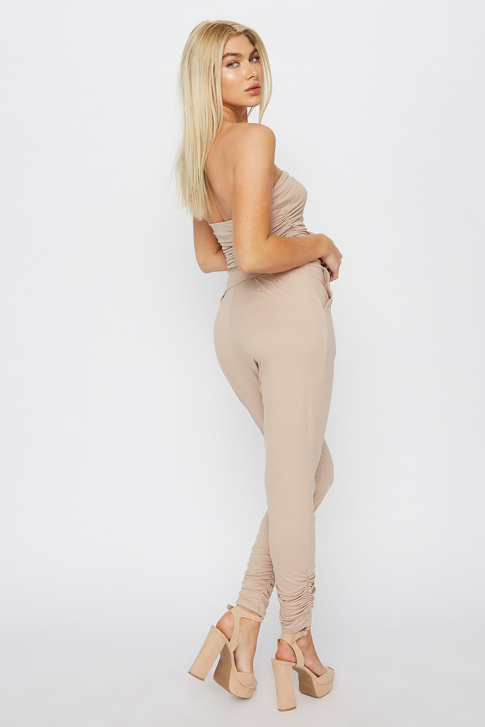Soft Strapless Ruched Jumpsuit Taupe