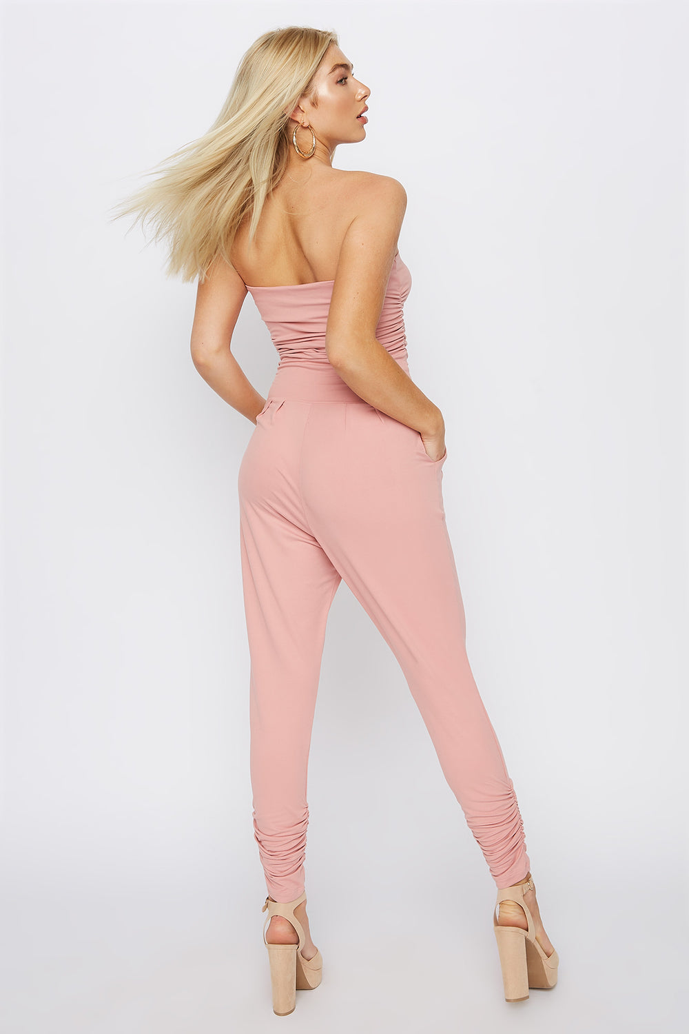 Soft Strapless Ruched Jumpsuit Light Pink