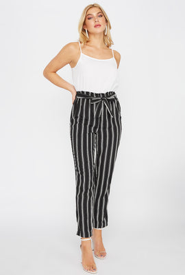 Striped Paperbag Self-Tie Sleeveless Jumpsuit