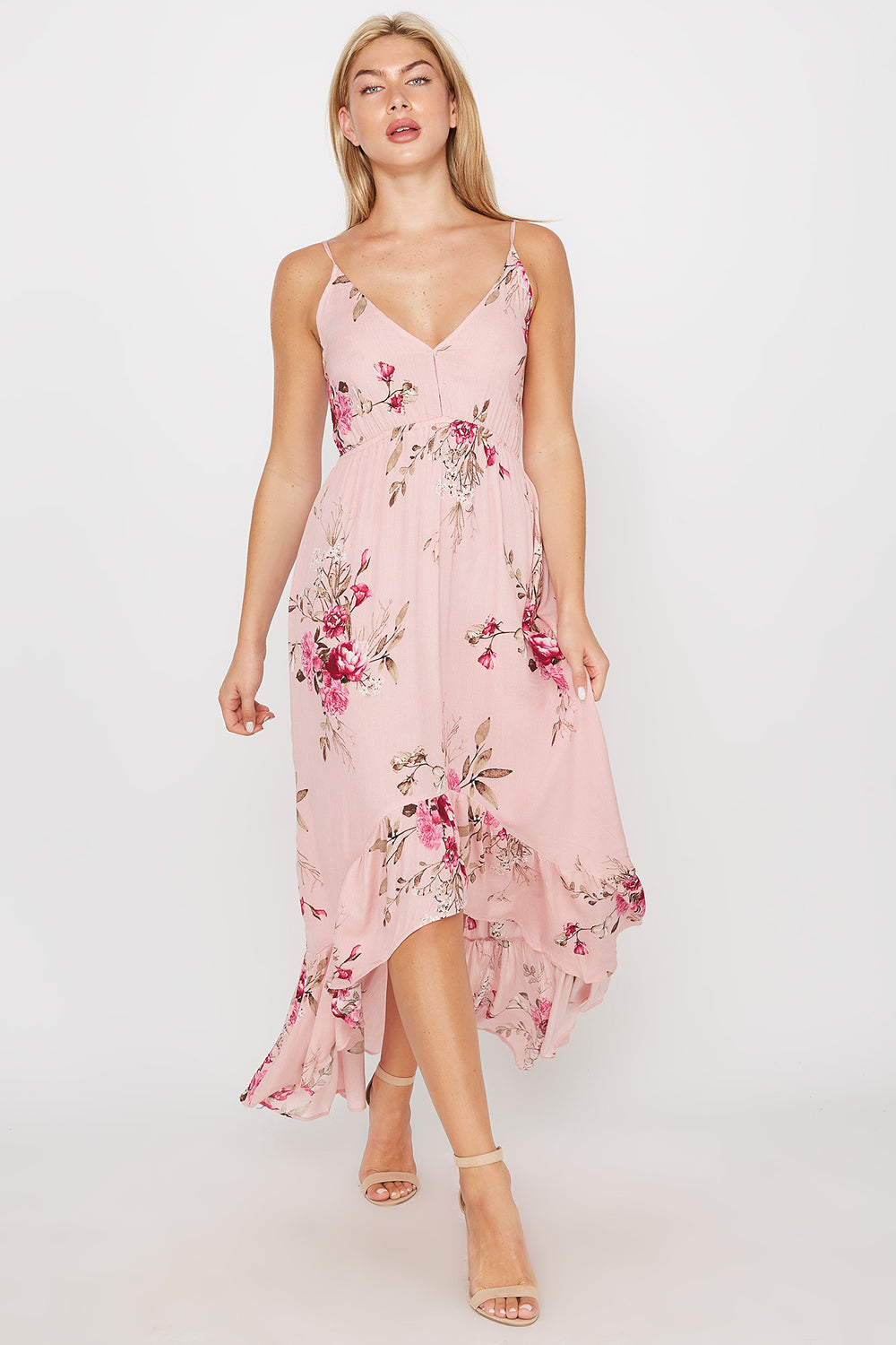 Floral Ruffle Hem High-Low Maxi Dress Dusty Rose