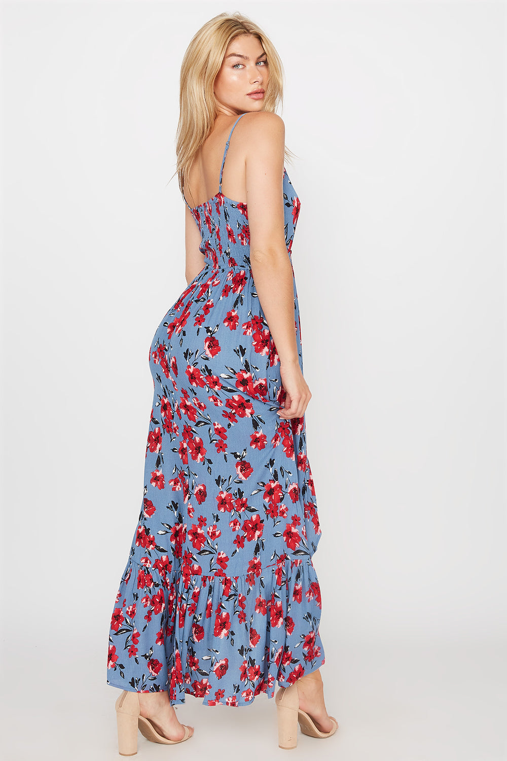 Floral Ruffle Hem High-Low Maxi Dress Ocean Blue