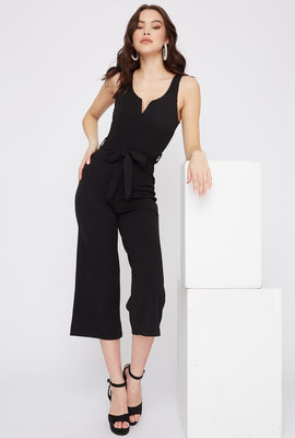 Notch Neck Culotte Jumpsuit