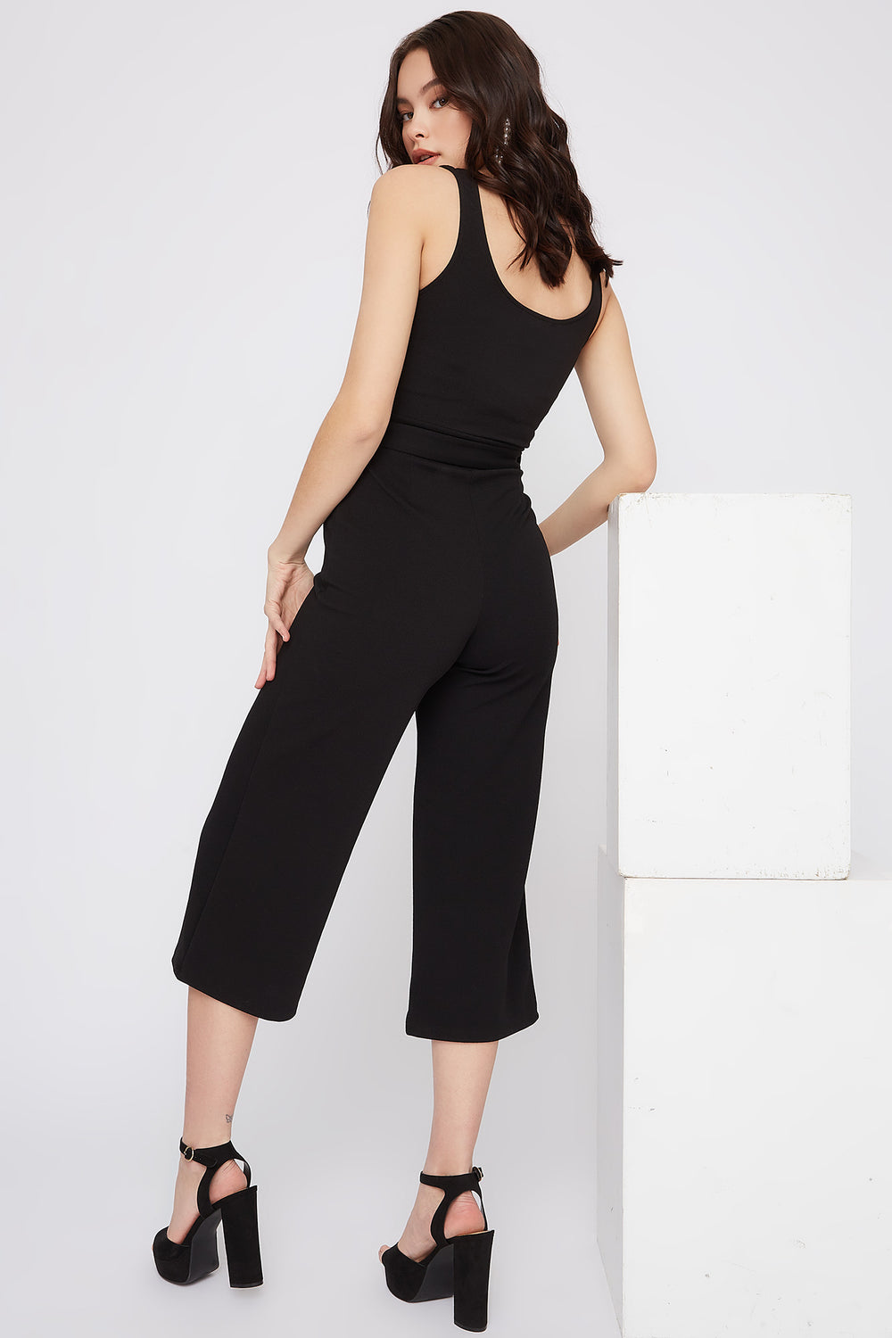Notch Neck Culotte Jumpsuit Black