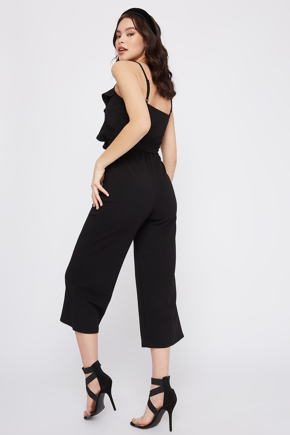 Ruffle Self Tie Culotte Jumpsuit Black