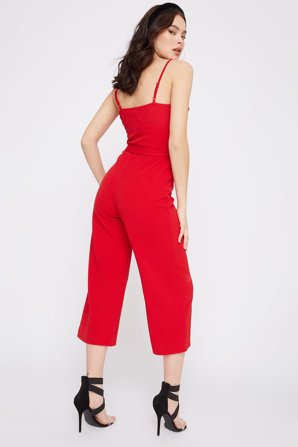 Ruffle Self Tie Culotte Jumpsuit Red