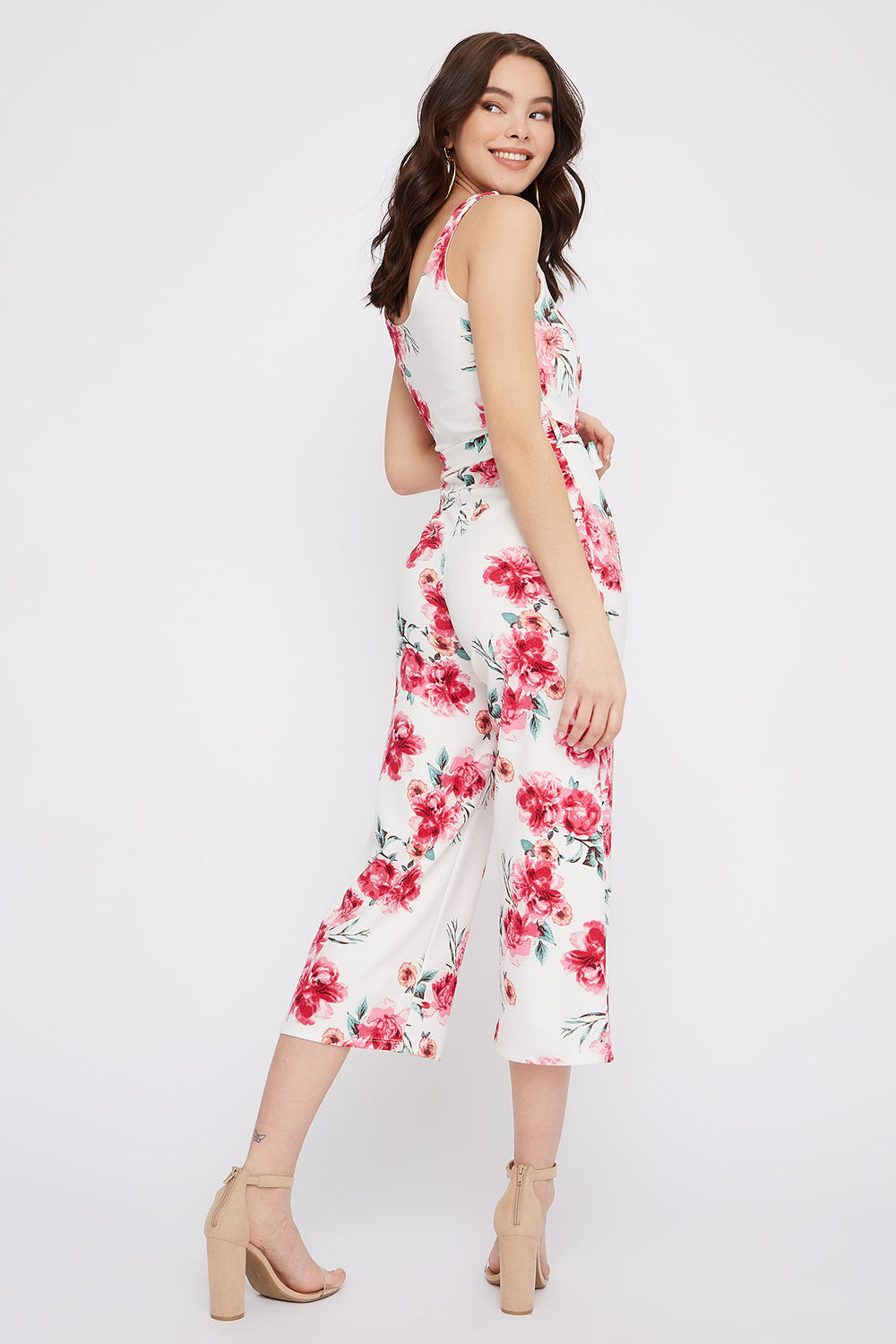 Floral Notch Neck Culotte Jumpsuit Ivory