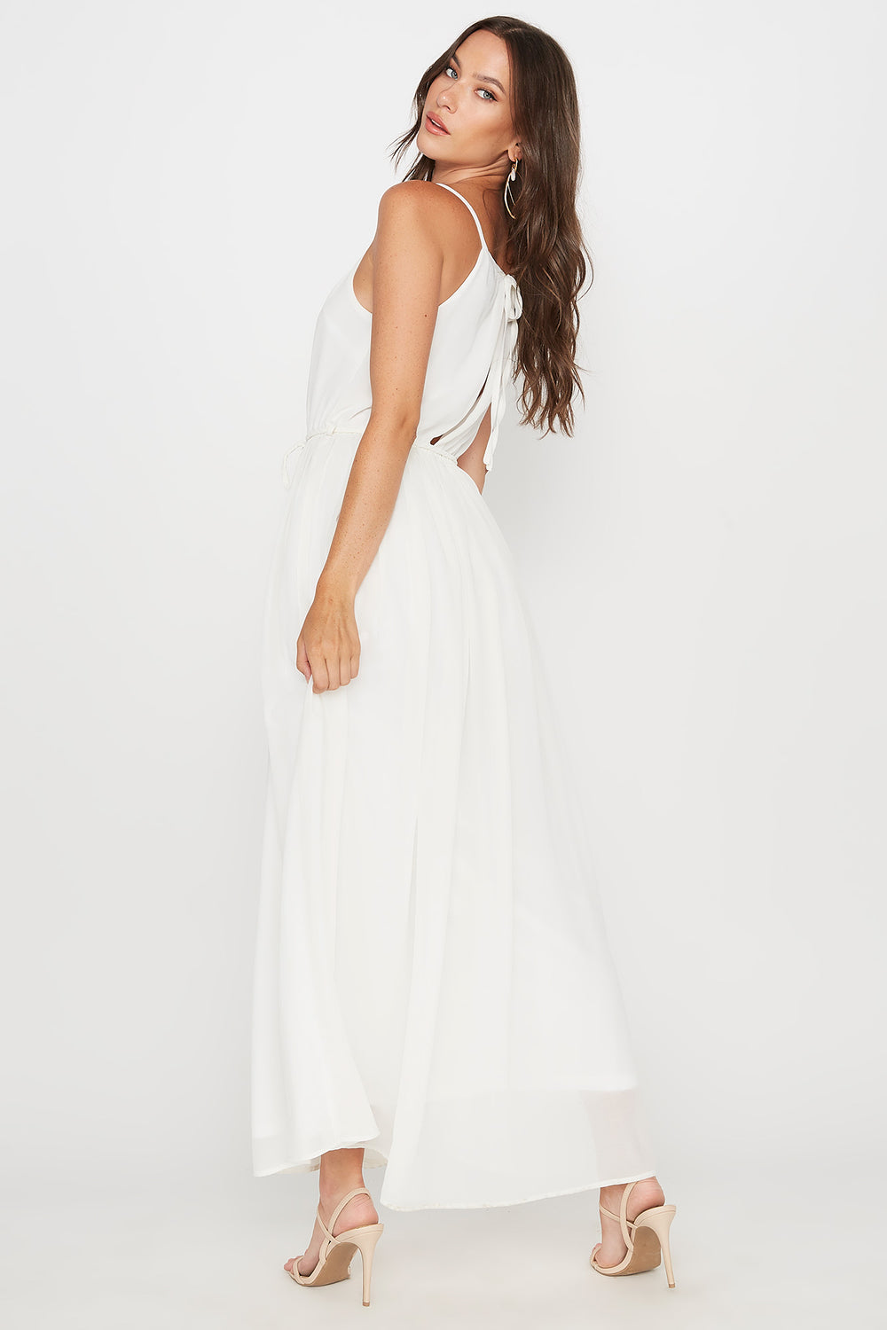 Scoop Neck Belted Maxi Dress White