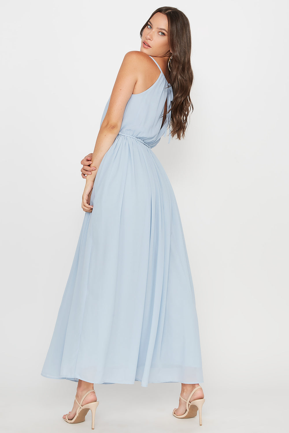 Scoop Neck Belted Maxi Dress Baby Blue