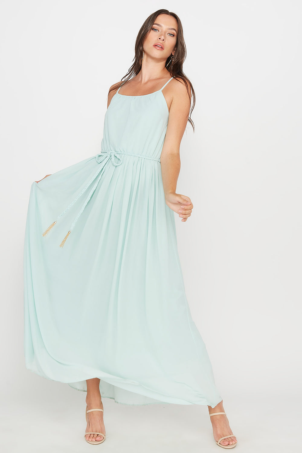Scoop Neck Belted Maxi Dress Aqua