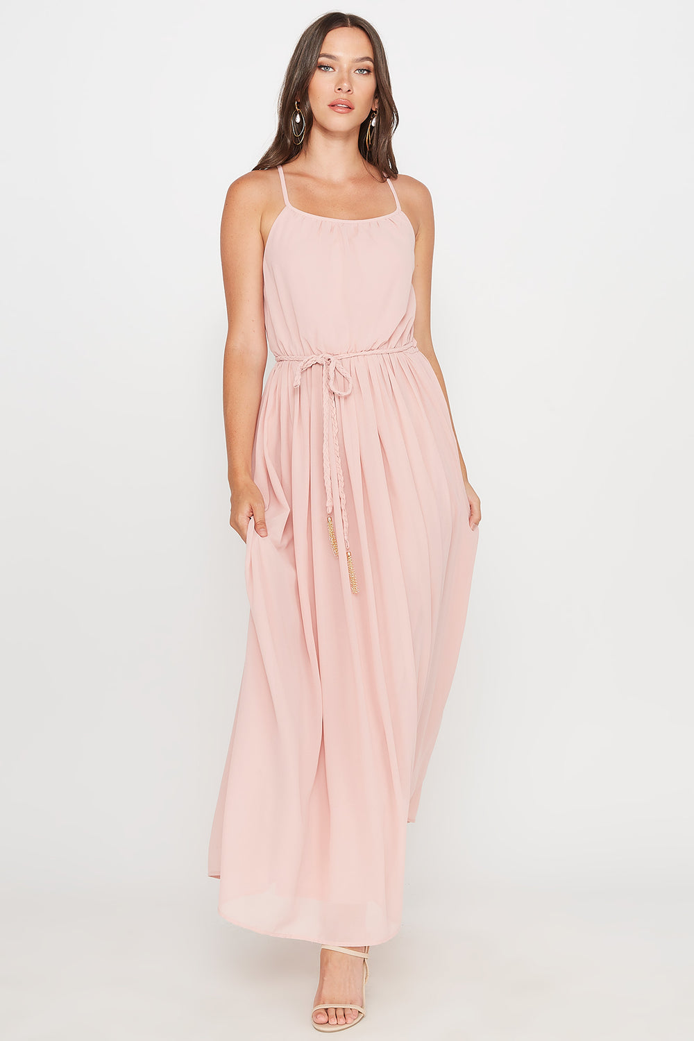 Scoop Neck Belted Maxi Dress Pink