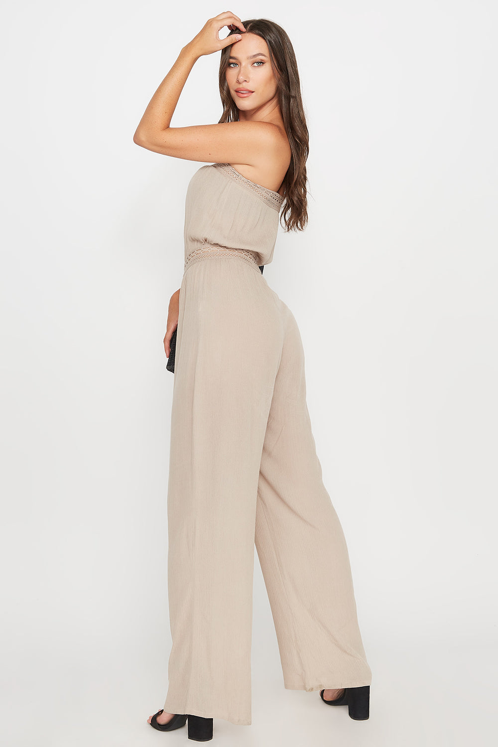 Strapless Crinkle Crochet Trim Jumpsuit Taupe
